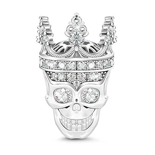 Gnoce Cráneo Queen Abalorio para Mujer Charms Plata de Ley 925 'Amor por mi Reina' Charm Abalorios con Circonita cúbica para Collares y Pulseras