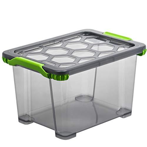 Rotho Evo Total Protection Aufbewahrungsbox 15l mit Deckel, Kunststoff (PP) BPA-frei, anthrazit/transparent, 15l (39,3 x 28,3 x 23,0 cm)