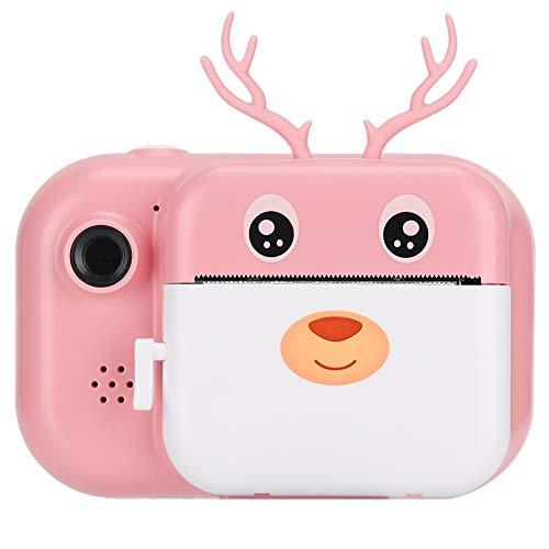 Jiawu Sofortbild-Kinderkamera, 2,4-Zoll-Digitalkamera mit Thermodruckpapier, Dual-Kamera-Objektiv, Kinder-Mini-Lernspielzeug-Kamerageschenke für Geburtstagsurlaubsreisen(Rosa)