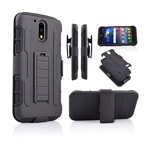 G4 Case, for Motorola Moto G4/ G4+ Plus (2016) Hybrid Rugged Kickstand Armor Tough Dual Layer Black Rubberized Case with Belt Clip Holster Cover