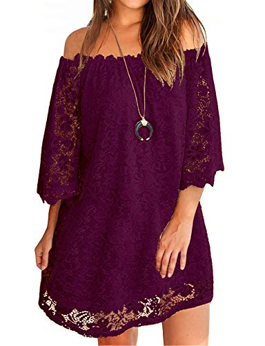 OURS Off The Shoulder Prom Dress for Women with Three Quarter Sleeves Winter Dress Plum S