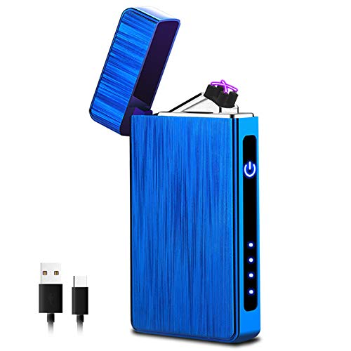 XIMU Accendino Elettrico, USB Accendino Plasma Ricaricabile Antivento & Senza Fiamma, Accendino Dual Arco con Indicatore della Batteria per Candele/Cucina/Grill (Blu)