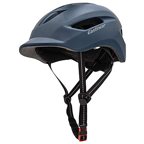 EASTINEAR Adults Bike Helmet for Men Women with LED Taillight Cycling Helmet for Urban Commuter with Sun Visor Breathable Mountain & Road Bicycle Helmets Adjustable Size M/L (Navy)