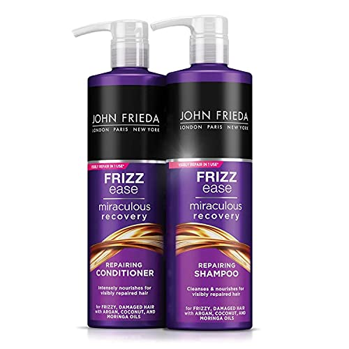 John Frieda Frizz Ease Miraculous Recovery Hair Repairing Shampoo + Conditioner Set 2 x 500 ml for Frizzy, Dry + Damaged Hair, Intensely Nourishing with Argan, Coconut + Moringa Oil Large Pack