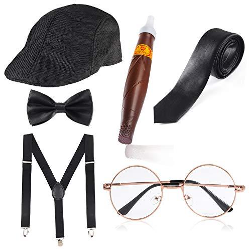 Haichen 1920s Hombre Gatsby Gangster Disfraz Accesorios Set - Gatsby Newsboy Beret Sombrero Tirantes Pre Atado Pajarita Gafas Juguete Cigarro Falso (Negro)