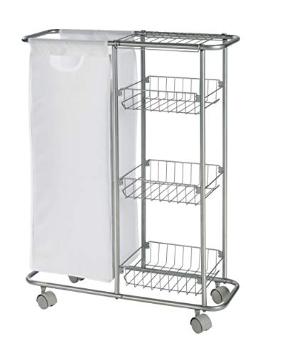 WENKO 12100100 Collecting trolley Slim - 3 tiers, detachable bag , capacity 7.4 gal, Powder-coated metal, 7.9 x 22.8 x 31.5 inch, Grey