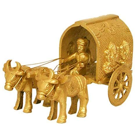 Aakrati Traditional Bull cart with Hindu god Statue Laxmi Ganesh Figure- Best Gift and Home Decor Sculpture