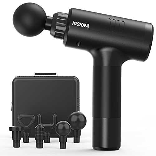 IOOKNA Massager Gun, Deep Tissue Percussion Massager for Pain Relief, Super Quiet Portable Body Relaxation Electric Muscle Massage Gun with 20 Speeds, 6 Heads & Carrying Case.