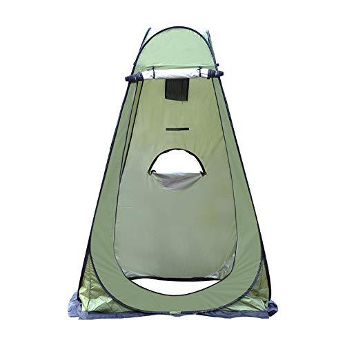 Exnemel Tienda de ducha desplegable de poliéster 180T con revestimiento de poliuretano, para camping, ducha, vestuario, privacidad, inodoro, senderismo (verde con 3 ventanas)