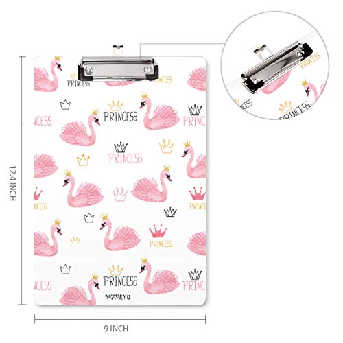 Cute Clipboard, Pink Clipboard for Girls Kids Students, WAVEYU Letter Size Clipboard with Low Profile Clip Paperboard for School(12.5