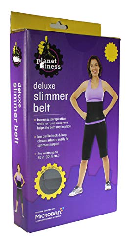 """Planet Fitness Slimmer Belt Waist Trimmer Full & Maximum Coverage (10""""x40"""", 12""""x40"""") Antimicrobial Body Shaper for Women and Men, Promotes Sweat and Weight Loss"""