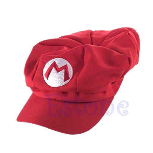 Aawsome - Gorra de béisbol de Luigi Super Mario Bros de cosplay Length: 41.5cm (16.34in) Width: 23cm (9.06in) rosso