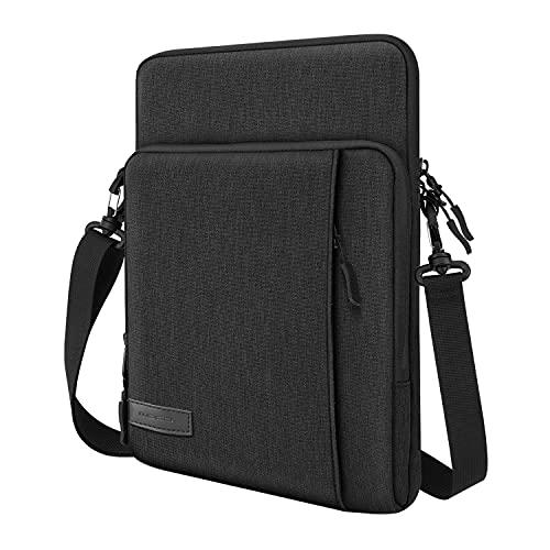 MoKo Custodia Compatibile con iPad PRO 12.9 2021 2020 2018, iPad PRO 12.9 2017 2015, Surface Laptop Go 12.4 , Borsa Grande per Tablet in Poliestere con Tasca Portaoggetti Portabile, Nero & Grigio