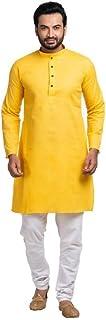 Shahzada Men's Solid Straight Kurta(Yellow)