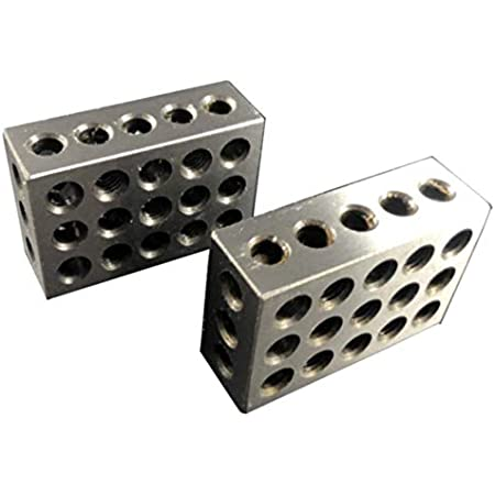 1-2-3 Block Set 1//2 Single Hole Matched Pair 123 Blocks with One Hole Hardened Steel Precision Ground Machinist Set Up Blocks for Precision Grinding Layouts