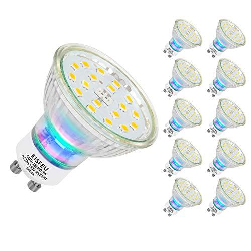 EISFEU Ampoules LED GU10, Ampoules LED Spot, 600 Lumen, 120° Larges Faisceaux, Blanc Lumière du Jour 6000K, Lot de 10 [Classe énergétique A+]