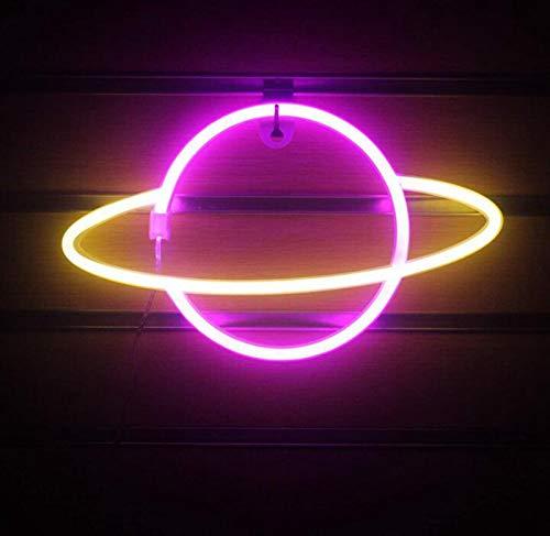 DKZ LED-Planet Neon, Kinder Nachtlicht USB/Batterie Neonlichter Für Raumwand Kinderschlafzimmer Geburtstag Party Bar Strand Hochzeitsdekoration, 30 * 18 cm,Yellow+pink