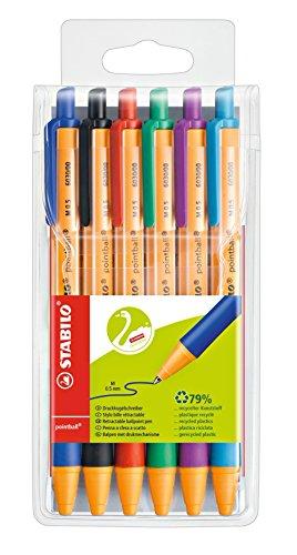Druck-Kugelschreiber - STABILO pointball - 6er Pack - mit 6 verschiedenen Farben