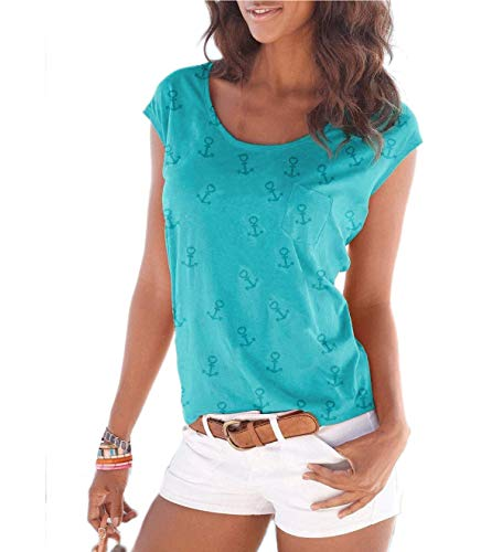 Fleasee Damen T-Shirt Kurzarm Bluse Locker Ärmelloses Top Lässig Sommer Tee mit Allover-Sternen und Anker Druck-XXL-Leicht Blau-anker