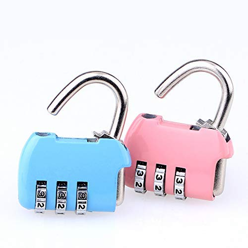 3 Digit Password Combinatie Hangslot, Bagage Gym School Tas Locker Anti - Diefstal Accessoires roze