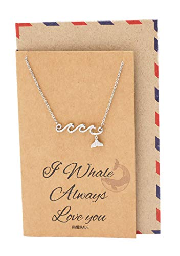 Quan Jewelry Whale Tail and Ocean Wave Pendant Necklace, Handmade Pun Gifts for Women with Greeting Card