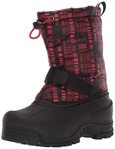 Northside Boys' Frosty Snow Boot, Charcoal/Red, 3 M US Little Kid
