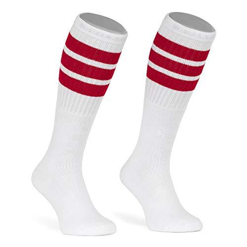 skatersocks 22 Inch kniehohe gestreifte Damen Socken Kniestrümpfe knee high overknee Herren Retro Tube Socks weiss - rot gestreift - UNISEX - OSFA Streifen