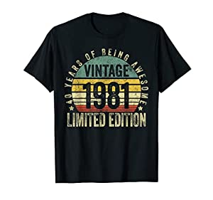 1981 40th Birthday Retro Color Gift features a retro 60's 70's color scheme, distressed font and simple cool design make this awesome funny birthday gift. 40 Years of Being Awesome Retro Vintage Sunset, Made/ Born in 1981 January February March April...
