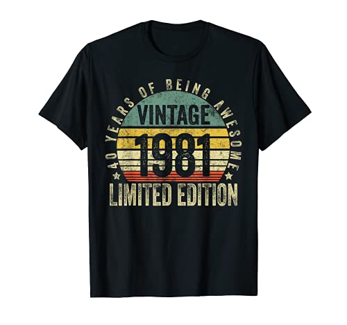 40 Year Old Gifts Vintage 1981 Limited Edition 40th Birthday Maglietta