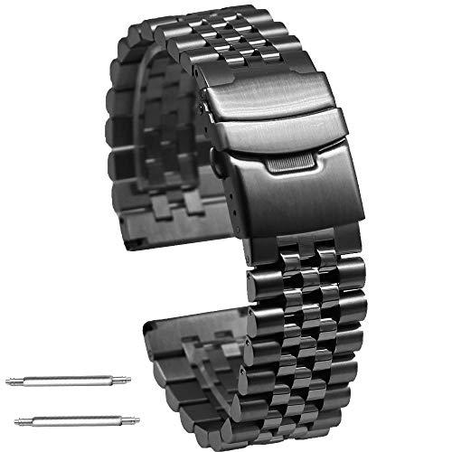 Kai Tian 22mm Prämie Super 3D Schwarz Armbanduhr Edelstahl Uhrarmband Metall Uhrenarmband mit Doppelschlössern Taucherschließe für Damen Herren