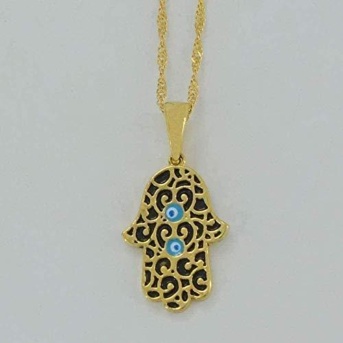 LBBYMX Co.,ltd Collar de Moda Hamsa Hand y Blue Eye Evil Collares Collares Color Dorado Hamesh Arab Hand Jewelry Hand of Fatima Colgante de Moda