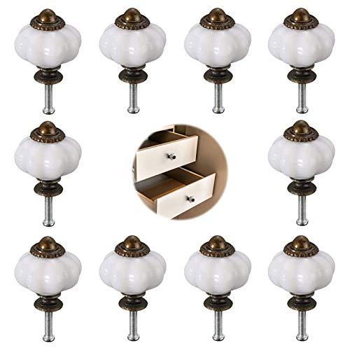 Blanco Perilla de Gabinete de Calabaza 10 Piezas Pomo de CeráMica Tiradores de Muebles Muebles Cajones Armarios Manilla Adecuado Para Muebles Europeos Modernos Y de Moda Adecuado Para Baño