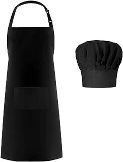 Syntus Apron Chef Hat Set, Adjustable Black Bib Cooking Aprons Water Drop Resistant Elastic Baker Kitchen Cooking Chef Cap Women Men Chef, Black