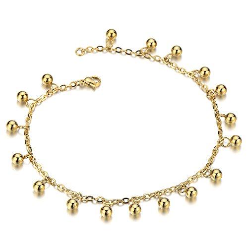 Acciaio Inossidabile Colore Oro Cavigliera da Donna con Palla Charms