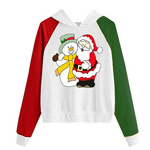 TWIFER Jedes Muster Pullover Damen Weihnachten Kapuzenpullover mit Katzenabdruck Lange Hülsen Sweatshirt (d-Weiß,M)