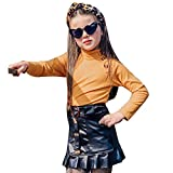 Toddler Kids Baby Girl Fall Skirt Outfits Long Sleeve Knit Sweater Tops & Ruffle Leather Skirts Fashion Clothes Set (Yellow Shirt+Black Skirt, 1-2T)