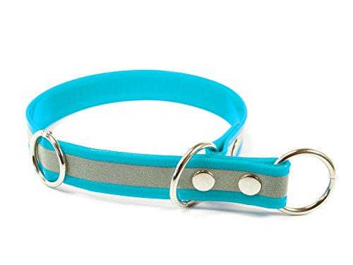 Mystique® Biothane Schlupfhalsband reflex gold 25 mm breit (50 cm, türkis)