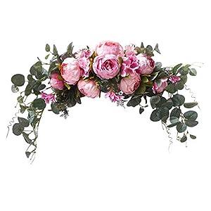 Silk Flower Arrangements U'Artlines Floral Swag Artificial Flowers Peony Wreath Handmade Garland for Mirror Home Wedding Party Door Tabletop Decoration(Swag, 31'' Pink Peony)