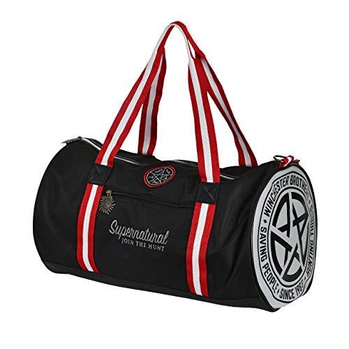 Elbenwald Supernatural Sporttasche mit Serienlogo und Anti Possession Symbol 50 x 28 x 26 cm schwarz mit rot-weißen Henkeln