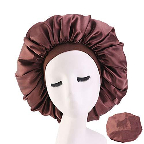 Egurs Bonnet de Sommeil en Satin Chapeau Élastique de Bande Grand Bonnet avec Bande Élastique de Confort Couleur Unie Marron