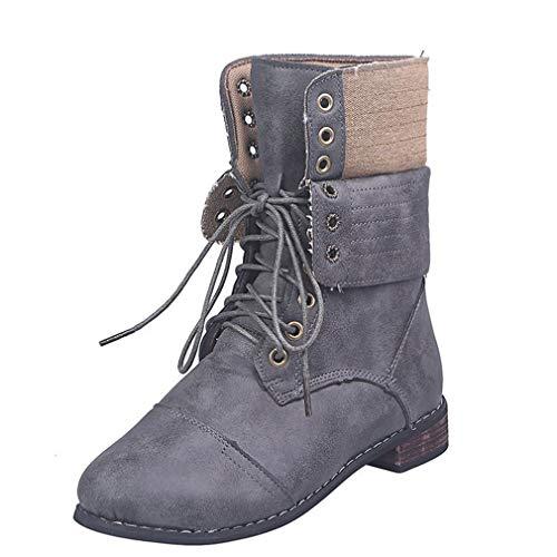 Botas de tobillo para mujer, mujer, de piel para motero, con cordones de tacón grueso, botas Chelsea talla 37-43, gris, 42