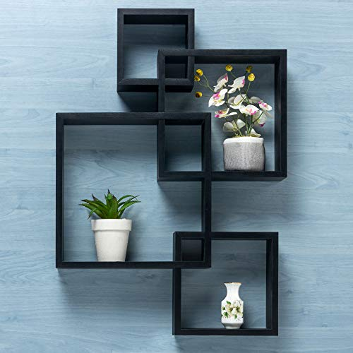Gatton Design Wall Mounted Floating Shelves   Interlocking Four Cube Design   Perfect Shelving Unit for Bedrooms, Offices, Living Rooms & Kitchens   Floating Shelf Decor & Storage Display   Black