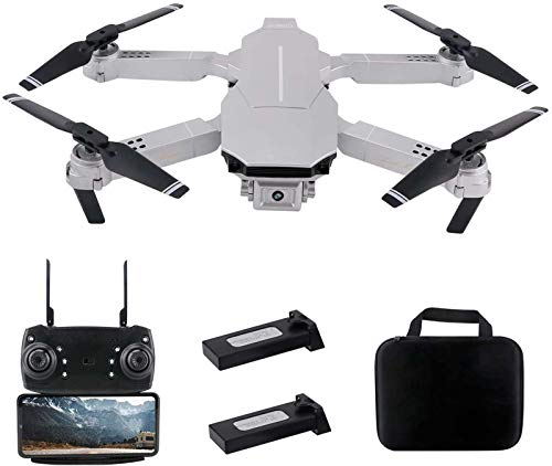 FPV WiFi Drone with Dual 4K Camera Live Video 110° Wide-Angle 4CH 6-Axis Gyro Foldable RC Drone w/Altitude Hold,Headless Mode,APP Control,Trajectory Flight,Gesture Photos/Video