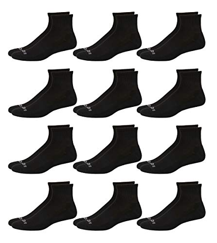 AND1 Men's Athletic Arch Compression Cushion Comfort Quarter Cut Socks (12 Pack), Size Shoe Size: 6-12.5, Solid Black