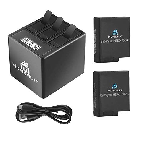 Homesuit Akku (2 Pack) und 3 Kanal LCD USB Ladegerät für GoPro Hero 7 Black, Hero 5, Hero 6 Black, Hero 2018 mit Typ-C USB Kabel