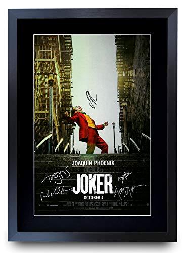 HWC Trading Joker The Cast Joaquin Phoenix Zazie Beetz Marc Maron Todd Phillips, gedrucktes Poster mit Autogramm für Film-Fans, A3 gerahmt