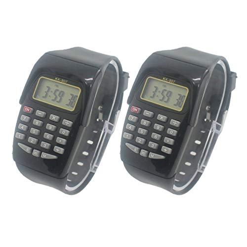 HEMOBLLO 2 Stücke Rechner Uhr Silikon Mehrzweck Elektronische Armbanduhren Uhr Geschenke für Kinder Studenten (Schwarz)