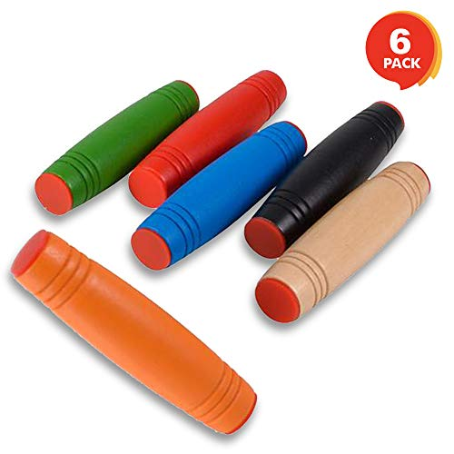ArtCreativity 3.5 Inch Wooden Tumbling Sticks, Fidget Toys for Kids and Adults - Set of 6 - Stress and Anxiety Relief Sensory Toys - Birthday Party Favors, Goody Bag Fillers - Assorted Colors