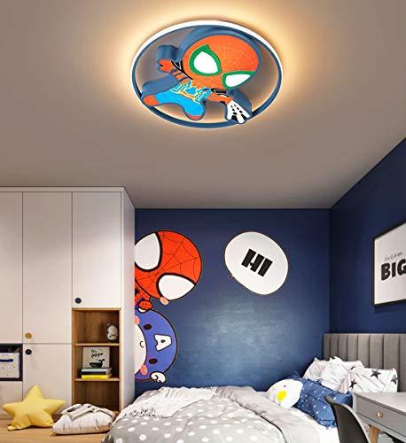 Plafonnier LED Dimmable Chambre d'Enfants luminaire de plafond avec Télécommande Créatif Animé Marvel Spiderman lustre Rond pour Garçon Moderne Chambre de Bébé Enfants Applique Murale, bleu, Ø45cm
