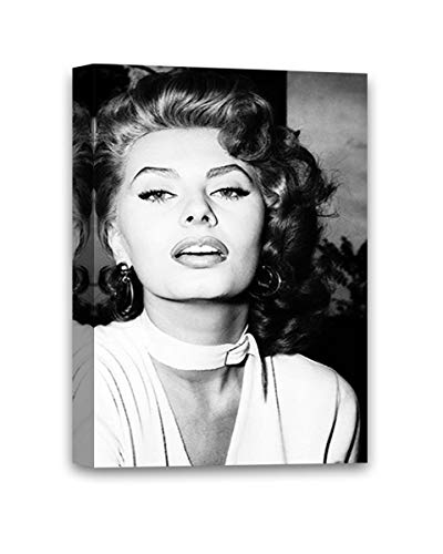 Funny Ugly Christmas Sweater Sofia Loren Movie Poster Monochrome Canvas Gifts from Italy Loren Wall Art Framed Poster Sophia Loren Canvas Art Iconic Italian Star 8' x 12'